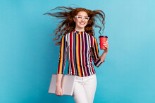 Photo Of Intelligent Red Hairdo Lady Hold Laptop Cup Wear Spectacles Colorful Shirt Isolated On Blue Color Background