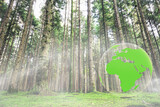 Fototapeta Las - Concept environment nature trees in the forest with a 3d green earth planet.