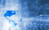 Fototapeta Las - Concept shining technology cyberspace with earth globe.