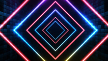 Abstract Futuristic Background Of Blue Neon Square Frame And Lighting Spotlgiht Stage Background