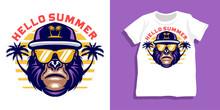 Summer Gorilla With Sunglasses Tshirt Design