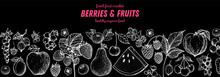 Berries And Fruits Drawing Collection. Sketch Style. Hand Drawn Vector Illustration. Food Design Template With Berry And Fruit For Packaging And More. Organic Healthy Food.