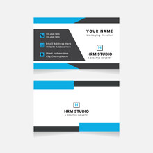 Modern Business Card Print Templates.Personal Visiting Card With Company Logo.Business Card Design Vector Illustration Stationery. Double Sided Business Card Flat.