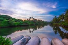 Meeting Point Of Freshwater (River) And Saltwater (Sea) At Kanyakumari, Tamil Nadu.