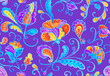 Leinwandbild Motiv Paisley watercolor floral pattern tile: flowers, flores, tulips, leaves. Oriental indian traditional hand painted water color whimsical seamless print, ceramic design. Abstract india batik background