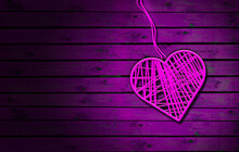 Pink Heart On Wooden Rustic Table. Dark Wood Background; Heart Shape Made By Thread. Conceptual Image Of Love.