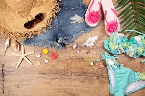 Fotografie, Obraz 海に行くイメージ 水着や麦わら帽子のスイムウェア