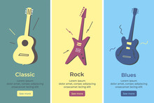 Acoustic Guitar, Electric Guitar. Stringed Musical Instruments Set. Colorfull Flat Isolated Vector Illustration .Classic, Rock, Jazz And Blues Music Style. Online Store Musical Instruments For Musican