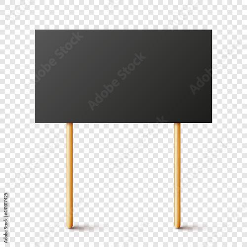 Blank black protest sign with wooden holder Fototapet