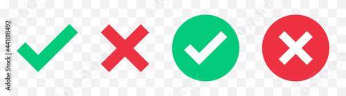Fotografia Green check mark, red cross mark icon set