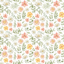Watercolor Seamless Pattern With Wild Summer Flowers In Pink And Yellow Colors. Meadow Wild Flower And Foliage, Leaf, Plants. Spring Garden. Floral Background For Wallpaper, Paper, Textile, Package