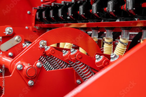 Fotografia Close-up of technical units and mechanisms of agricultural machinery