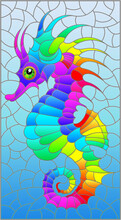 Stained Glass Illustration With A Bright Rainbow Cartoon Seahorse On A Dark Blue Background, Rectangular Image