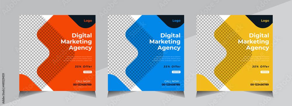 Creative Social Media Banner Design, Business Social Media Post Template, Web Banner, Orange, Blue, Yellow Color - obrazy, fototapety, plakaty