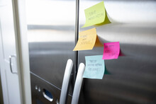 Adhesive Note Reminders On Stainless Steel Refrigerator Door