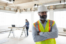 Construction Foreman On Site Of Office Renovation