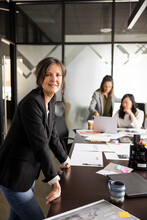 Portrait Confident Creative Businesswoman In Conference Room Meeting