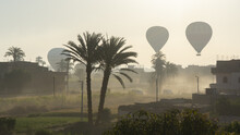 Hot Air Balloons Floating In Sky Of Luxor, Egypt