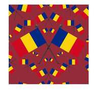 Vector Illustration Of Pattern Romania Flags And Red Colors Background.