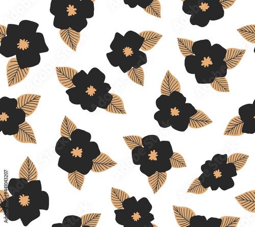 Black flower vector seamless pattern. Hand drawn modern floral background