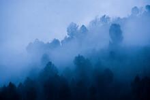 Foggy Blue Mountains After Rain