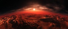 Sunrise Over The Red Planet, Mars From Low Orbit At Sunset, 3D Rendering