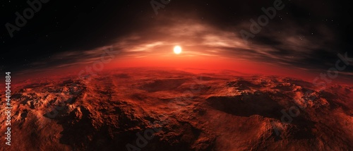 Foto Sunrise over the red planet, Mars from low orbit at sunset, 3D rendering