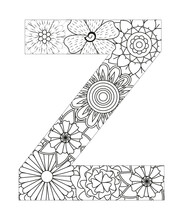 Coloring Page Alphabet For Kids With Cute Characters In Doodle Style. ABC Coloring Page - Letter Z