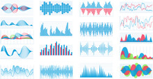 Set Of Different Charts And Waveforms, Sound Waves HUD Interface Elements, Frequency Audio Vector.