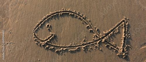Fotografia, Obraz smiling fish, sand  painting