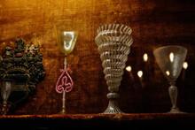 Castle Interior, Historical Vintage Italian Murano Glass Wineglass, Colored Graceful Cups Are On The Shelf Renaissance Chateau Opocno, Czech Republic