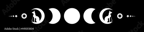 Obraz na plátně Triple moon and black cats, pagan Wiccan goddess symbol, moon phases, white silhouette wicca banner sign, energy circle