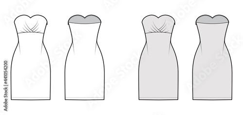 Fototapeta Dress tube technical fashion illustration with strapless, fitted body, knee length pencil skirt