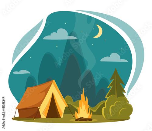 Fotografija Vector flat cartoon camping illustration