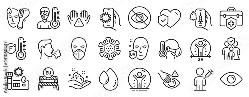 Obraz na plátně Set of Medical icons, such as Medical insurance, Family insurance, Covid test icons