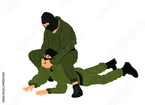 Photo Soldier special force member skill presentation against terrorist enemy vector illustration isolated on white background