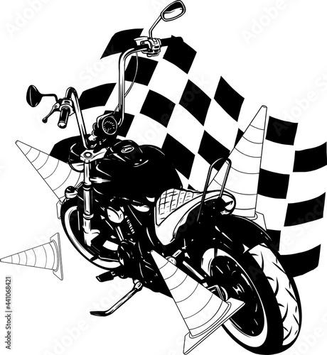Obraz na plátně Old vintage black bobber bike with race flag
