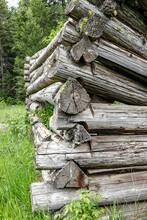 Corner Section Of A Log Cabin Ruins.
