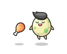 Cute Spotted Egg Floating And Tempted Because Of Fried Chicken