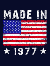 Made In 1977 Usa Betsy Ross Flag T-shirt Design
