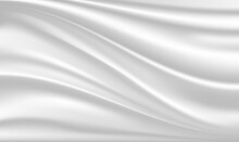 Abstract Luxury Silk, Liquid Wave Or Satin Velvet Material Background. Abstract Background With Silk Cloth Texture, Shiny Satin Fabric With Waves And Drapery. White Silk Cloth Fabric Wave.Vector EPS10