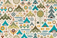 Abstract Conceptual Design Celebrates Outdoors Adventure, Representing Plants, Flowers, Woodland, Forest, Mountains, Trees, Camping Tents, Fish And Water In V-shapes And Other Earthy Shades Geometrics