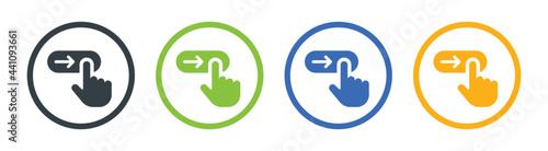 Tela Swipe right icon, slide finger, unlock phone action, symbol set on white background