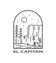 Camp In Yosemite National Park - Line Art Mono Line For Pin Graphic Illustration Vector Art T-shirt Design