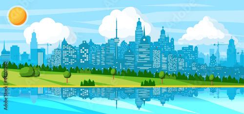Slika na platnu City Landscape with Buildings, River, Hills, Trees
