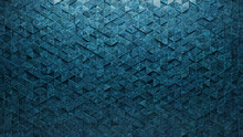 Glazed Tiles Arranged To Create A Textured Wall. 3D, Triangular Background Formed From Blue Patina Blocks. 3D Render