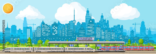 Obraz na plátně Modern Railway Station with High Speed Train