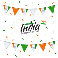 Vector Illustration Of  India Independence Day. Garland With The Flag Of India On A White Background.