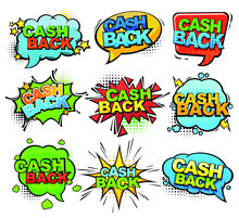 Cartoon Comic Set Of Icons With Cash Back Text. Splash Set. Isolated On White Background. Clouds With Text.