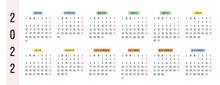 Spanish Horizontal Calendar 2022 Year. Vector Stationery Calendar Week Starts Monday. Yearly Organizer. Simple Calendar Template In Minimal Design. Business Illustration.